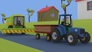 getlinkyoutube.com-Tractor For Kids Combine-Harvester | Maize | Farm Work | Bajki Dla Dzieci Traktory