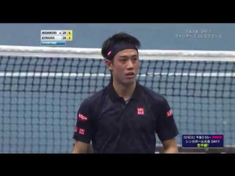 Nishikori plays under-serve 2 times | IPTL 2016