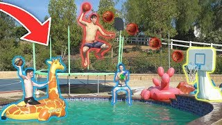 CRAZY TRAMPOLINE POOL MINI BASKETBALL TRICKSHOTS!!
