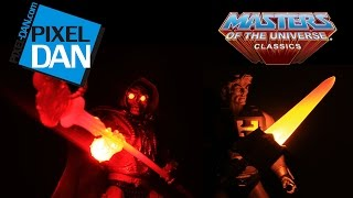 getlinkyoutube.com-Masters of the Universe Classics Laser Power He-Man & Laser Light Skeletor Figure Review