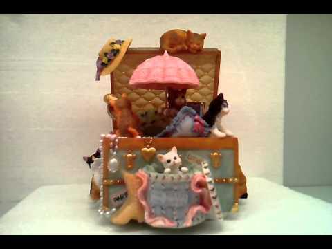 Animated Sweet Kitty's Hat Shop-  7incH Resin Handcranked Music Box MP-431