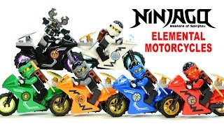 getlinkyoutube.com-Ninjago Elemental Motorcycles & Shields LEGO KnockOff Minifigure Set 32 w/ Garmadon