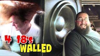 "getlinkyoutube.com-4 18"" Subs on 15,000 Watts w/ Russell's Walled Off Skar Audio ZVX 18s | BASS Hair & Beard Tricks"