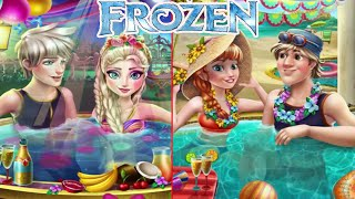 getlinkyoutube.com-💫 Frozen Elsa Jacuzzi and Anna Pool Celebration Compilation Games for Girls