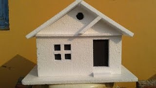 getlinkyoutube.com-How to make a simple Thermocol Model House: Thermocol crafts