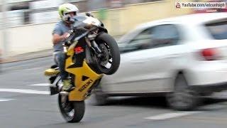 getlinkyoutube.com-Bikers 75 - BMW HP4, Suzuki & Honda Wheelies and Burnouts, Kawasaki, Yamaha - Superbikes Sounds