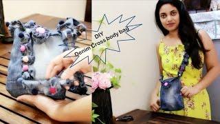 getlinkyoutube.com-DIY Clothing Tutorials | old jeans to cross body bag !