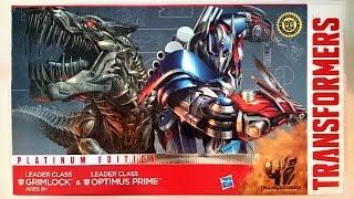 getlinkyoutube.com-Unboxing : Hasbro Leader Set Transformers 4 Optimus Prime Grimlock
