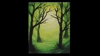 getlinkyoutube.com-Acrylic Silhouette Painting - Green Forest Light