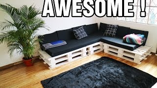 getlinkyoutube.com-MAKING THE CUTEST DIY PALLET COUCH