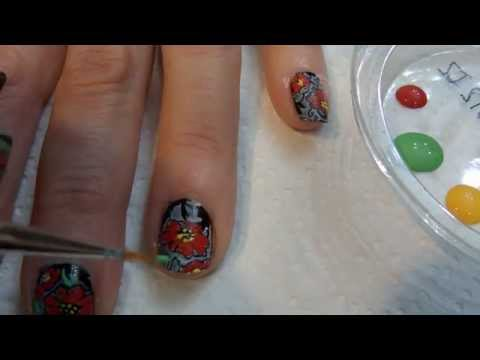 Tutorial uñas decoradas (Nail art) Nº 81 Flor Hawaiana BM225