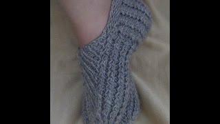 getlinkyoutube.com-Следки спицами с подошвой ПЛЕТЕНКА. How to knit short socks