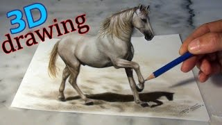 getlinkyoutube.com-Speed Drawing of a Horse in 3D ! Anamorphic Illusion