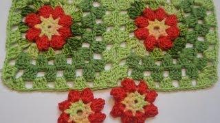 getlinkyoutube.com-Цветок в квадрате Соединение квадратов Вязание крючком Flower in a square Connection of squares Croc