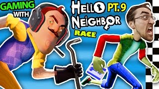 HELLO NEIGHBOR vs. ME! BASEMENT RACE CHALLENGE IRL GAMING! Alpha 3 SECRETS REVEALED? (FGTEEV Part 9)