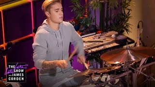getlinkyoutube.com-Justin Bieber Is the New Late Late Show Drummer