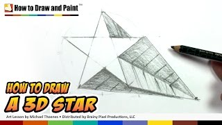 getlinkyoutube.com-How to Draw a 3D Star Shape - Art for Kids -Draw a Star in One-point Perspective