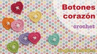 getlinkyoutube.com-Mini tutorial # 6: botones corazón tejidos a crochet! English subtitles: crochet heart buttons