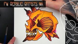 getlinkyoutube.com-FW Acrylic Ink Tattoo Flash Watercolour Illustration Tutorial