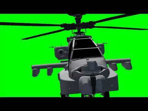 Apache AH-64D Longbow Helicopter  in flight - green screen effects -7dQQ56KYYEc