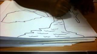 getlinkyoutube.com-How to draw a beautiful scenary of waterfalls