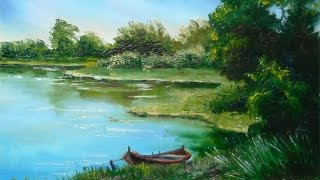 "getlinkyoutube.com-Oil Painting with Svetlana Kanyo ""Lake view"""