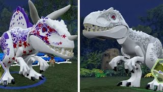 getlinkyoutube.com-LEGO Jurassic World - Indominus Rex Unlock Location + Gameplay (Skeleton & Custom Dinosaur Showcase)
