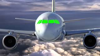 Airplane Cockpit  in fly - green screen B