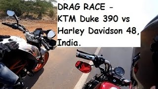 getlinkyoutube.com-DRAG RACE - KTM Duke 390 vs Harley Davidson 48, India.