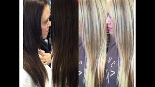 getlinkyoutube.com-Brunette Goes Blonde| NO DAMAGE|Olaplex| One Sitting| Educational Tutorial|