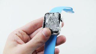 getlinkyoutube.com-Blue Apple Watch Sport 42mm Drop Test!