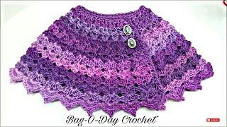 getlinkyoutube.com-CROCHET How to #Crochet Cute Baby Cape Shawl Poncho #TUTORIAL #168 Closed Caption LEARN CROCHET