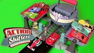 getlinkyoutube.com-Cars Flo's V8 Cafe Dragstrip Track Action Shifters Playset Disney Pixar Review Radiator Springs