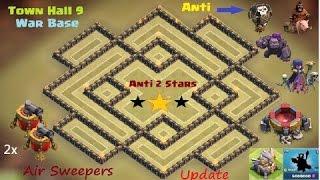 getlinkyoutube.com-احدث تصميم clash of clans لفل 9 للحرب ضد( المنطاد والهوك وساحرة وكولوم)