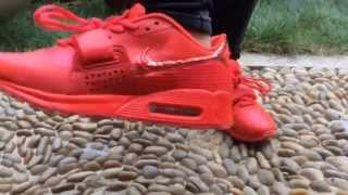 getlinkyoutube.com-Custom shoes !!! nike air max 90 yeezy red october on feet