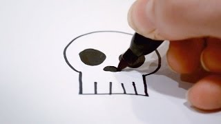 getlinkyoutube.com-How to Draw a Cartoon Skull
