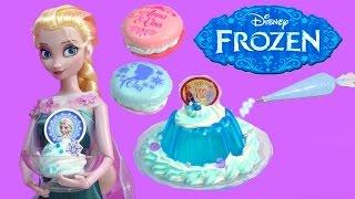 getlinkyoutube.com-Queen Elsa Disney Frozen Whipple Jello Ice Cream 2 Macarons Princess Anna Birthday Craft Unboxing