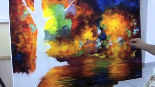 getlinkyoutube.com-A sped up video of Leonid Afremov making a recreation of Colorful Night