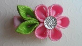 getlinkyoutube.com-Милая заколка для волос Канзаши / Sweet hairpin Kanzashi