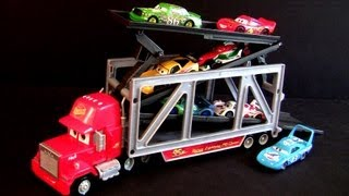 getlinkyoutube.com-Cars 2 Lift and Launch Mack Truck Ramp Transporter Playset 2013 Transports 6 Disney racers