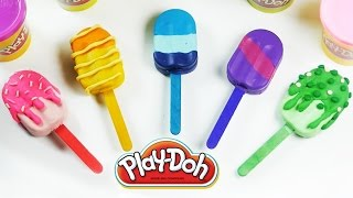 getlinkyoutube.com-Play doh Ice cream popsicles Learn colors with playdoh