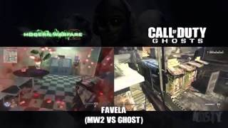 getlinkyoutube.com-Cod Ghosts And MW2: Favela (Invasion DLC) Side By Side Comparison