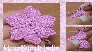 getlinkyoutube.com-How To Crochet Flowers Thick Petals Tutorial 44 Kwiatek na szydełku