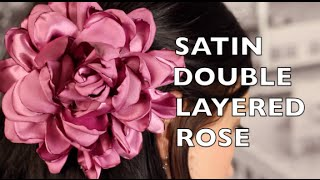 getlinkyoutube.com-Fabric Hair Flower Tutorial | Satin Double Ruffled Rose | DIY