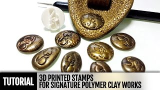 getlinkyoutube.com-How to use 3D printed sign stamp for signature of your polymer clay works. Video Tutorial!
