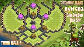 getlinkyoutube.com-Coc Th9 Farming base 2016. Town Hall 9 Anti 50% Gold, Dark Elixir Base Clash of Clans