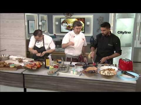 Our 3 chefs whip up brunch (restaurant style) for our audience