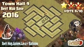 getlinkyoutube.com-Clash Of Clans - Town Hall 9 (Th9) Best War Base Anti 2 Star 2016 + Build & Replay
