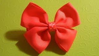 "getlinkyoutube.com-Бантик из репсовых лент "" Американский Бант "" / How To Make A Pinwheel Hair Bow"