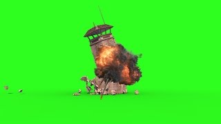 getlinkyoutube.com-Green Screen Watchtower Prison Tower Crash Explosion - Footage PixelBoom